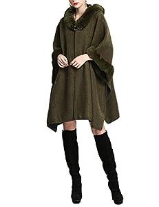 Gihuo Women's Batwing Faux Fur Hooded Cloak Poncho Cape