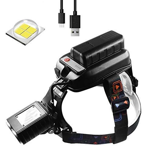 Fealay 2 * XHP50 Faros LED, USB Recargable de la Linterna, Linterna antorcha con 8000mAh 4 * 18650 for Camping Pesca