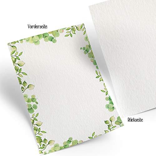 Logbuch-Verlag 25 Blatt Briefpapier Blätter WEISS GRÜN Rahmen Druckerpapier Bastelpapier DIN A4 100g Schreibpapier Papier Menükarte Speisenkarte Pflanzen Natur