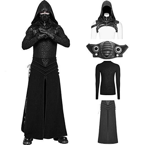 Punk Rave Men's Black Vintage Gothic Punk Assassin's Creed Mask Shirt Skirt Costume Suit (X-Large)