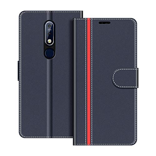 COODIO Handyhülle für Nokia 7.1 Handy Hülle, Nokia 7.1 Hülle Leder Handytasche für Nokia 7.1 Klapphülle Tasche, Dunkel Blau/Rot