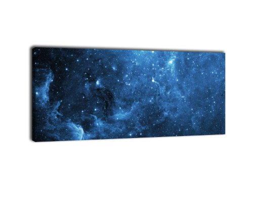 wandmotiv24 Leinwandbild Panorama Nr. 378 Sternennebel 100x40cm, Keilrahmenbild, Bild auf Leinwand, Stern Staub Space