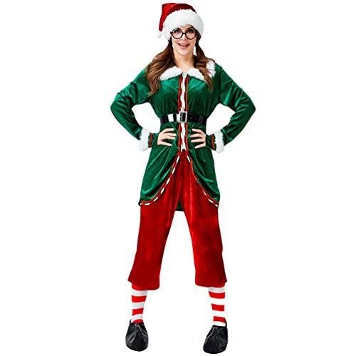 Yiiquanan Uomo/Donna Costume da Elfo Natalizio Vestito Adulto da Festa Manica Lunga Costumi di Natale Cosplay Elfi Set (Verde, Asia XL)