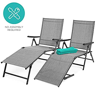 Best Choice Products Set of 2 Outdoor Adjustable Folding Chaise Lounge Recliner Chairs for Patio, Poolside, Deck - Gray