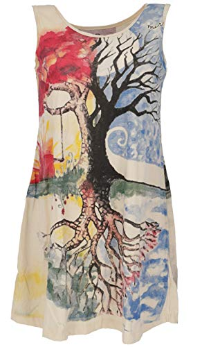 GURU SHOP Mirror Top, Longshirt, Minikleid, Damen, Lebensbaum/Vanille, Baumwolle, Size:L (40), Bedrucktes Shirt Alternative Bekleidung