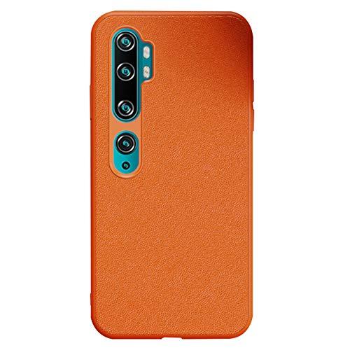 Tianyan Funda Xiaomi Mi Note 10,Antichoque Carcasa TPU Silicona Espalda Cuero Ultra-Delgado Protector Caso Funda para Xiaomi Mi Note 10 / Mi Note 10 Pro,Naranja