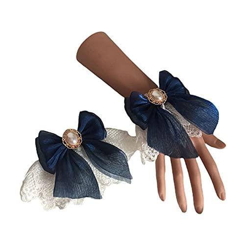 XKMY Lolita - Brazalete de encaje para boda Lolita con doble capa de encaje floral de tul con lazo, pulsera de perlas de imitación (color 6EE407641-ZQ)
