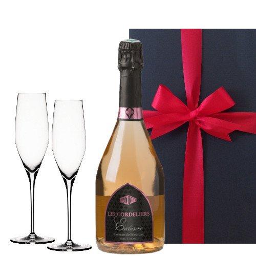 お祝い 結婚祝い 結婚記念日 誕生日【スパークリングワインのギフトセット】 シャンパングラス付き ボルドーのロゼスパークリングワイン フランス 750 ml シャンパングラスペア 【ギフト】贈答用 贈り物 プレゼント
