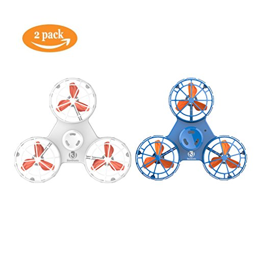 Bonitronic Flying Fidget Spinner, Anti-Anxiety ADHD Relieving Reducer Fidget Rotation Triangle Spinning Toys Funny Drone Interactive Games Kids Adults, Blue White- Pack of 2