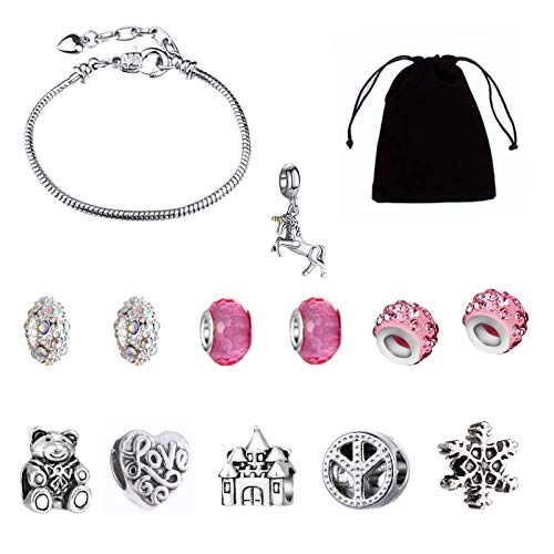 14PCS Girls Charm Bracelet Making Kit, Charms Pendants Jewelry Making Kits with Silver Plated Bead 12 Beads and 1 Snake Chains DIY Arts and Crafts Set For Kids Teens Age 8-12 Year Old Girls Gift