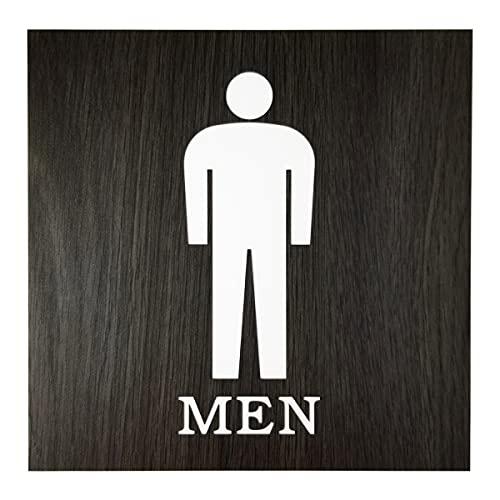 トイレ表示板 男性 屋外屋内両対応 おしゃれでかっこいい木目調のシンプルなトイレサインプレート 両面テープ付【ブラック】