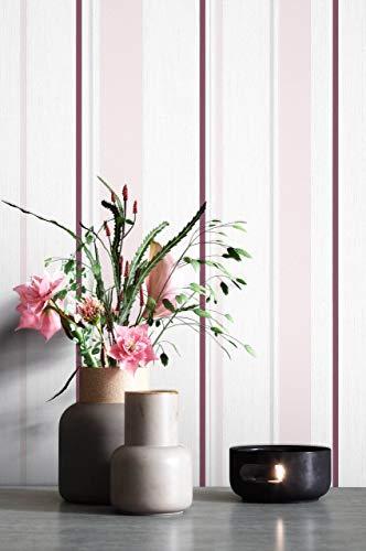 NEWROOM Tapete Lila Streifen Linien Modern Vliestapete Weiß Vlies moderne Design Optik Tapete Landhaus inkl. Tapezier Ratgeber
