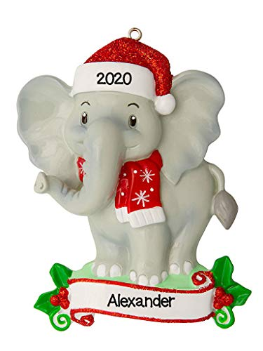 Personalized Christmas Ornament-Hand Made Zoo Animals-Elephant/Personalized by Santa/Elephant Ornament /Child Baby's First/Elephant