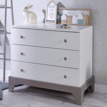 Alfred & Compagnie Commode 3 tiroirs Elvi blanc/lin