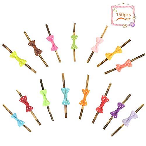 Matogle 150er Set Bindebänder Metallisch Metallic Twist Krawatten Twistband Metalldraht mit Schleife für Weihnachten Party Geschenke Candys Keks Tüten Zellophanbeutel Dekoration (15 Farben)