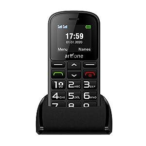 artfone Teléfonos móviles para Personas Mayores con Teclas Grandes, teléfono móvil para Personas Mayores con botón SOS y Base de Carga, Camera, Flashlight, fácil de Usar para Personas Mayores