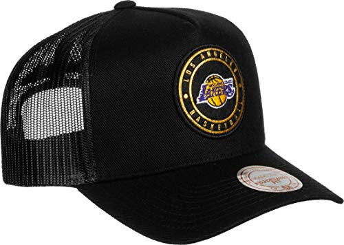 Mitchell & Ness Los Angeles Lakers INTL631 Hickory Curved Trucker Black Snapback Cap One Size