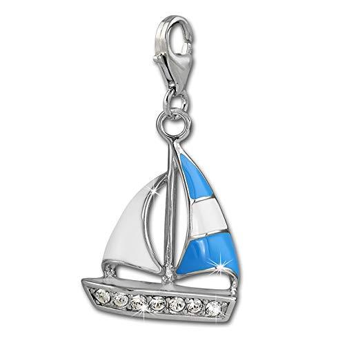 SilberDream Charm 925er Silber Emaille Anhänger blau weiß Segelboot FC862B