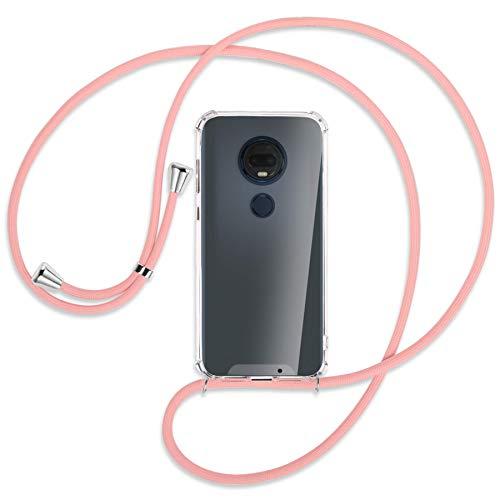 mtb more energy® Handykette kompatibel mit Motorola Moto G7 / Moto G7 Plus (6.2'') - rosa - Smartphone Hülle zum Umhängen - Anti Shock Strong TPU Hülle