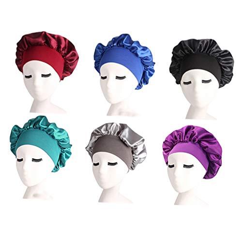 Lurrose 6 Pcs Bonnet de Sommeil en Satin Élastique Bande Large Chapeau Nuit Dormir Tête Couverture pour Bien Dormir (Noir Argent Bleu Royal Vin Rouge Or Violet Foncé)