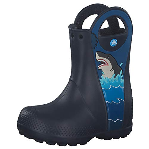 crocs Kinder Gummistiefel Fun Lab Shark Patch Rain Boot 206174 Navy 29-30