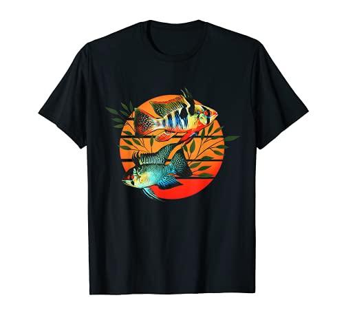 Deutsch Blau Rams Zwergbuntbarsche Aquarium Retro Geschenk T-Shirt