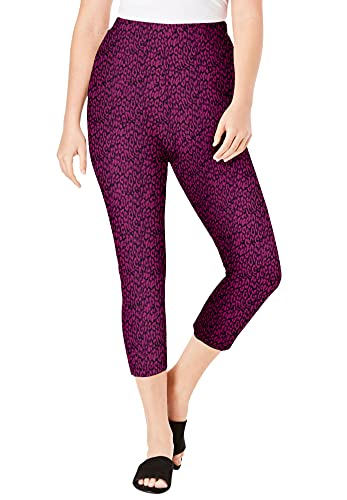 Roamans Women's Plus Size Essential Stretch Capri Legging Activewear Workout Yoga Pants - 12, Berry Animal