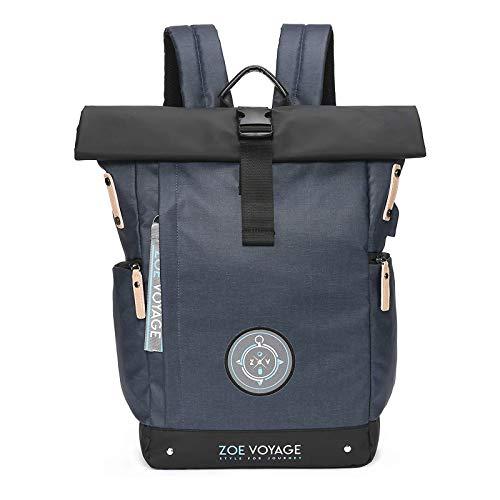 ZOE Voyage Rolltop Rucksack, wasserdicht, Tagesrucksack mit Laptopfach und USB Ladeanschluss, Reiserucksack blau 21-31l