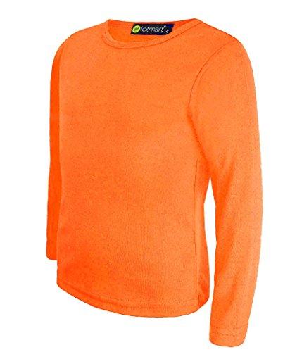 LOTMART Niños Liso Básico Camiseta de Manga Larga Niña Niño Camiseta Redondo Uniforme Camiseta - Naranja, 7-8 Años
