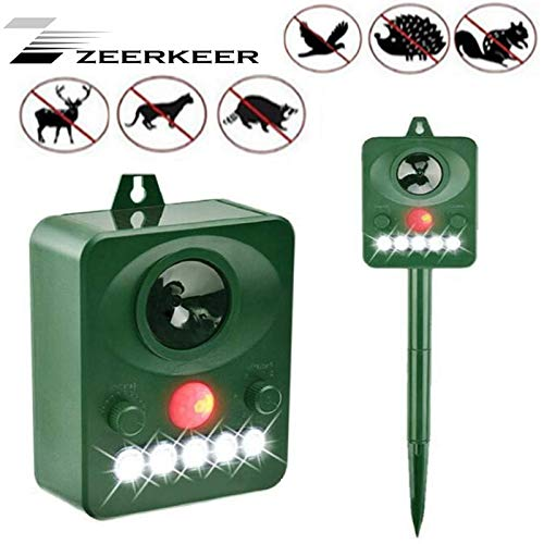 ZEERKEER Repelente ultrasónico, Repelente de pájaros/Perros/Gatos/plagas, Sensor infrarrojo de energía Solar, Resistente al Agua