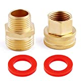 Litorange (2 Pack Lead Free Metal Brass Garden Hose Threaded 3/4' GHT to 1/2' NPT Fitting Connect, Green Thumb Quick Swivel Connector Adapter,Double Male and Female Thread GHT 3/4' x 1/2' NPT Pipe