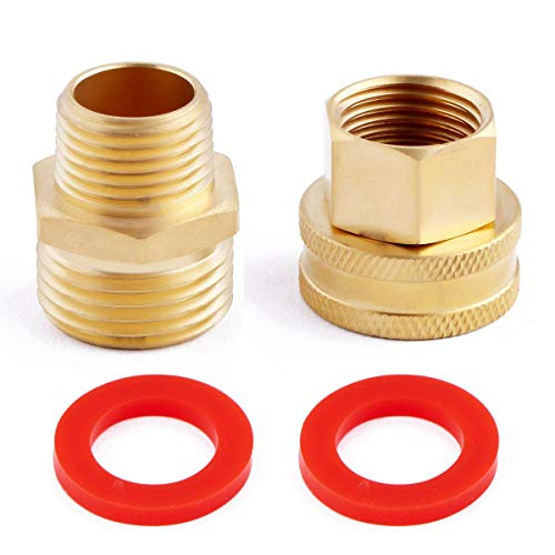 Litorange (2 Pack Lead Free Metal Brass Garden Hose Threaded 3/4 to 1/2 NPT Fitting Connect, Green Thumb Quick Swivel Connector Adapter,Double Male and Female Thread Size GHT 3/4 x 1/2 NPT Pipe