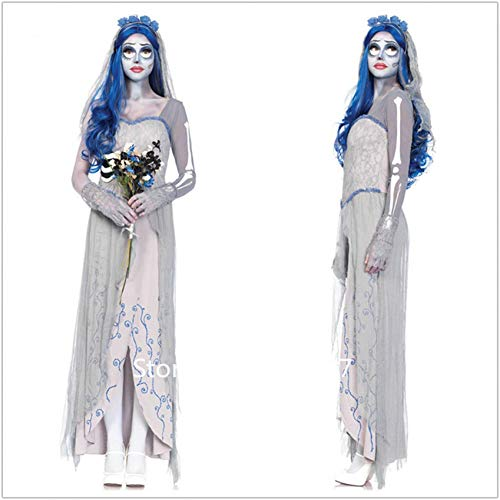 GBYAY Halloween Scary Bride Dress Princess Vampire Disfraces de Cosplay Skeleton Lace Up Masquerade Zombie Witch