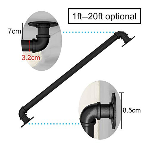 1ft-20ft. Handrail -Complete Kit. Industrial Wind Wrought Iron Pipe Elderly Stairs Handrail, for Indoor and Outdoor Corridor Attic, Black (3ft)