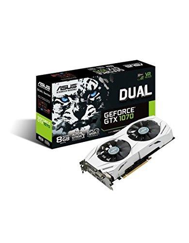 ASUS DUAL-GTX1070-8G - Tarjeta gráfica (Dual, NVIDIA GeForce GTX1070, 8 GB, GDDR5) Color Blanco