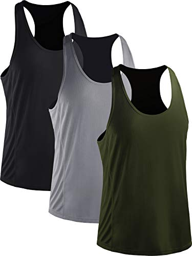 Neleus Men's 3 Pack Dry Fit Y-Back Muscle Workout Tank Top,5008,Black/Grey/Olive Green,XL,EU 2XL