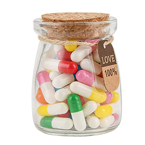 Love Capsules in a Glass Bottle Gift Yadream 60PCSLove Letter Capsule Pills with Wishing Bottle Mini Love Message Pill Cute Gifts for Boyfriend Girlfriend Suitable for Birthday Valentines Christmas Anniversary Graduation(Mixed Color)