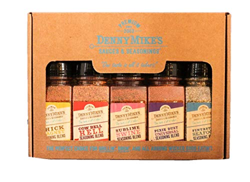 Denny Mike's Barbecue Spices and Seasonings Gift Pack - 5 BBQ Rubs for grilling Chicken, Beef, Pork, Seafood and more!