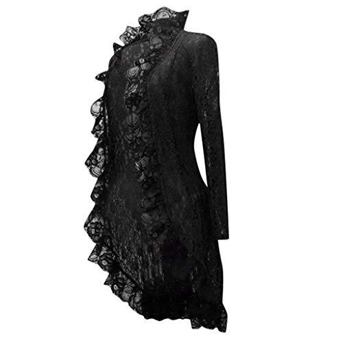 Damen Gothic Spitze Jacke Retro Kurz Mantel Strickjacke Party Kleidung Rüschen Steampunk Smoking-Blazer S-5XL Piebo Frauen Mittelalter Uniform Outwear Cosplay Kostüm Rosenmontag Karneval Fasching