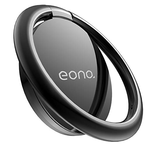 Eono by Amazon Phone Ring Holder, Handy Finger Ring Stand : Universal Grip 360 Adjustable Loop for iPhone 12 11 Pro XS Max XR X 8 7 6 6s Plus Android other 4~8' Smart Phone - Black