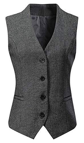 Vocni Women's Fully Lined 4 Button V-Neck Economy Dressy Suit Vest Waistcoat ,Gray,US XS ,(Asian M)