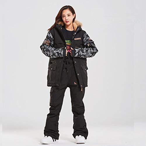 YRFDM Combinaison de Ski,Double Board Femme Costume De Ski Couple Simple Double Board Imperméable Épaisse Sangle De Suspension Amovible Slim Fit Femme Ski Set, Sets 5, S