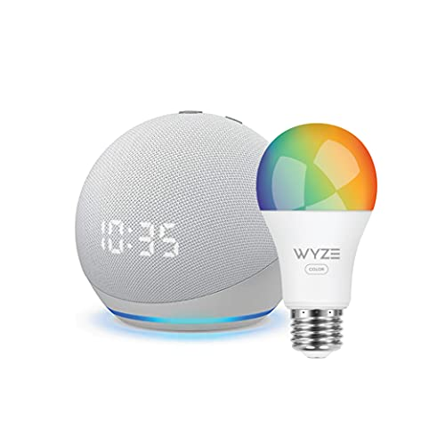 Echo Dot (4th Gen) | Smart speaker with clock and Alexa | Glacier White with Wyze Color bulb