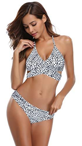 SHEKINI Damen Bikini Set Push up Verstellbar Crossover Ties-up Neckholder Bikinioberteil Zweiteiliger Badeanzug Triangel Gedruckt Niedrige Taille Sport Bikinihose Strandkleidung (M, Wellenpunkt)