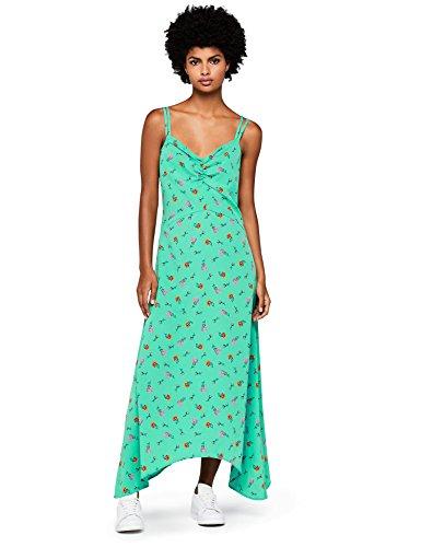 Marca Amazon - find. Vestido Largo de Tirantes con Estampado de Flores Mujer, Verde (Green), 36, Label: XS