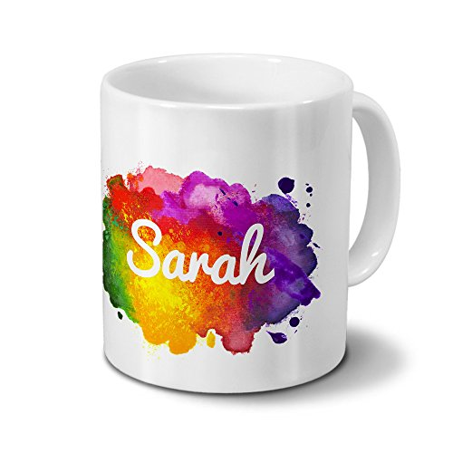 Tasse mit Namen Sarah - Motiv Color Paint - Namenstasse, Kaffeebecher, Mug, Becher, Kaffeetasse - Farbe Weiß