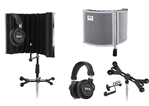 LyxPro VRI-30 Sound Absorbing Vocal Recording Microphone Isolation Shield Panel Studio Monitor Professional Headphones With Adjustable Universal Smartphone Tablet Holder & Extra Detachable Clip