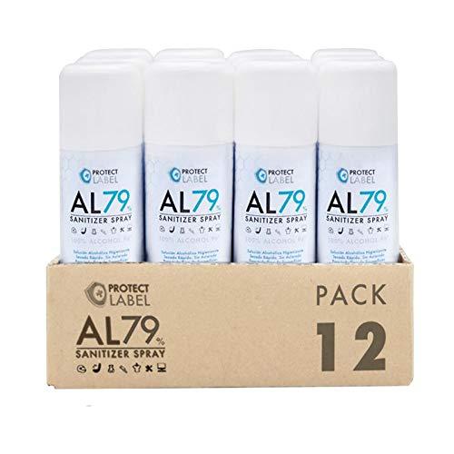 Pack 12 Hidroalcohol en Aerosol 200 ml. Protect Label Higienizante multisuperficies 70% Alcohol