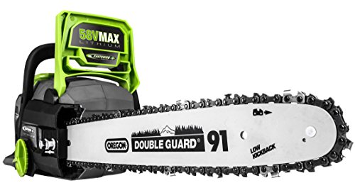 Earthwise LCS35814 14-Inch 58-Volt Cordless Brushless Motor Chainsaw, 2Ah Battery & Charger Included