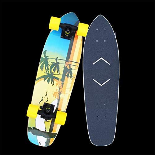 VOMI Skateboards Für Anfänger Kinder Cruiser Midi-Board/Skateboard 69Cm 7-Lagigem Kanadischem Ahornholz Skateboard, Vintage Mini Cruiser, Komplettboard, Mini-Board Mit Holz Deck ABEC-11 Kugellager